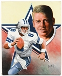 "1990s Troy Aikman Dallas Cowboys 16"" x 20"" Leon Wolf Original Painting (Star Background)"