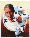 "1990s Troy Aikman Dallas Cowboys 16"" x 20"" Leon Wolf Original Painting (Circle Background)"