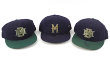 1994-97 Kevin Seitzer Jeff Cirillo Marc Newfield Milwaukee Brewers Game Worn Caps - Lot of 3 w/ 1 Signed (MEARS LOA/JSA)