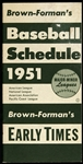 "1951 Brown-Forman's 3""x7"" Baseball Schedule"