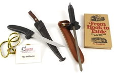 1950s-70s Ted Williams Boston Red Sox Personal Fishing Accessories - Lot of 4 w/ Knife, Sharpener, Book & Name Badge (MEARS LOA/Williams Estate Letter)