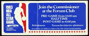 "1983 NBA All Star Game ""Join the Commissioner at the Forum Club"" Ticket"