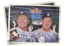"1990s Mickey Mantle Whitey Ford New York Yankees 24"" x 32"" Lithographs - Lot of 2"