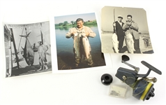 1950s-70s Ted Williams Boston Red Sox Personal Fishing Accessories & Memorabilia - Lot of 5 w/ Photos, Reel & Hooks (MEARS LOA/Williams Estate Letter)