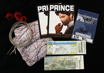 2004 Prince Musicology Tour Memorabilia w/ Bass Strings, Working Credential, Tickets, CDs & More - Lot of 8