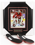 "2000s Olaf Kolzig Signed 16"" x 18"" Framed Photo & Jay Bouwmeester Custom Skate Inserts - Lot of 2 (MEARS LOA/JSA)"