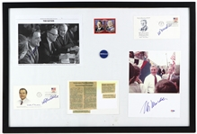 "1970s-80s Walter Mondale 42nd Vice President of the United States 22"" x 32"" Framed Display w/ Signed Photo, First Day Envelopes & More (JSA)"