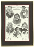 "1988 Bob Uecker Sidney Moncrief Jim Otto Andy North Shirley Martin Signed 20"" x 27"" Framed Lithograph (JSA) 14/200"
