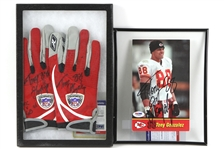 2003 (October 12) Tony Gonzalez Kansas City Chiefs Signed Game Worn Receiver Gloves & Signed Photo - Lot of 2 (MEARS LOA & PSA/DNA)