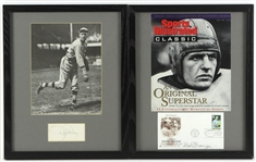 "1960s-80s Dizzy Dean Red Grange Signed 12"" x 15"" Framed Displays - Lot of 2 (JSA)"