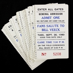 1980 (September 30) Fans Salute to Bill Veeck at Comiskey Park Chicago Whte Sox Ticket Stubs - Lot of 32