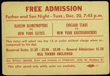 "1949 (December 20th) Harlem Globetrotters vs. Boston Celtics & Chicago Stags vs. New York Knickerbockers Free Admission 3""x4"" pass"