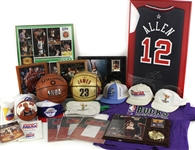 1980s-90s Basketball Memorabilia Collection - Lot of 23 w/ Signed Items, Michael Jordan/Chicago Bulls Items, All Star Game Hats & More (JSA)