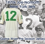 1970s Joe Namath New York Jets Home Practice / Preseason Game Worn Home Jersey (MEARS LOA)