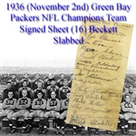 1936 (November 2nd) Green Bay Packers NFL Champions Team Signed Sheet (16) Beckett Slabbed