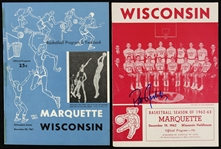 1961-62 Wisconsin Badgers Marquette Warriors Basketball Game Programs - Lot of 2 w/ 1 Signed by Pat Richter (JSA)