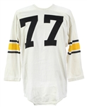 1960s White Durene #77 Game Worn Rawlings Football Jersey (MEARS LOA)