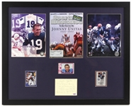 "1970s-2000s Johnny Unitas Baltimore Colts 23"" x 29"" Framed Display w/ Signed Cut (PSA/DNA)"