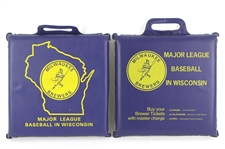 "1970s Milwaukee Brewers Barrelman Logo ""Major League Baseball in Wisconsin"" Seat Cushions - Lot of 2"
