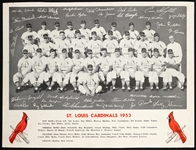 1953 St. Louis Cardinals Team Photo With Facsimile Autograph 8x10 B&W Photo