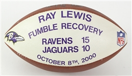 2000 (October 10) Ray Lewis Baltimore Ravens ONFL Tagliabue Game Used Fumble Recovery Presentation Football (MEARS LOA)