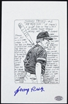 Rare Johnny Peskey Signed 6x8 Ink Sketch Lithograph Print, Boston Red Sox (JSA)