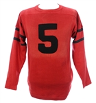 1930s Red #5 Game Worn Football Jersey (MEARS LOA)