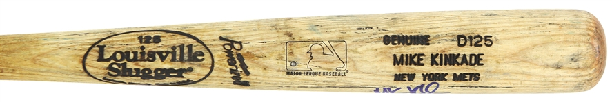 1999-2000 Mike Kinkade New York Mets Signed Louisville Slugger Professional Model Game Used Bat (MEARS LOA/JSA)