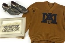 1919 Jack Markweiss Marquette Academy Football Memorabilia Collection - Lot of 3 w/ Matted Studio Photo, Sweater & Cleats (MEARS LOA)