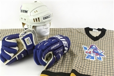 1997-2001 Bob Uecker Milwaukee Admirals Memorabilia - Lot of 3 w/ Plaid Jersey, CCM Helmet & Bauer Gloves (MEARS LOA)