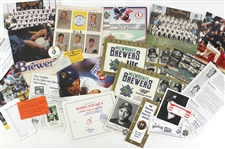 1970s-2000s Milwaukee Brewers Memorabilia Collection - Lot of 30 w/ Trading Cards, Photos, Publications & More