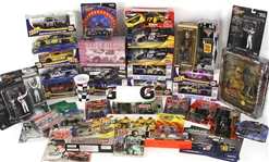 1980s-2000s Massive NASCAR Auto Racing Collection - Lot of 98 w/ MIB Model Cars & Race Figures, Sponsor Flats, Publications, Kenseth, Gordon, Earnhardt & More