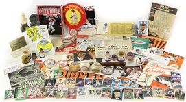 1940s-90s Baseball Memorabilia Collection - Lot of 100+ w/ San Francsico Seals PCL H&B Louisville Slugger Mini Bat, Signed Trading Cards & Photos, Programs, Publications & More