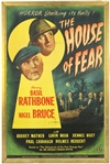 "1945 House of Fear Sherlock Holmes 28""x42"" Original Movie Poster ""Starring Basil Rathbone"""