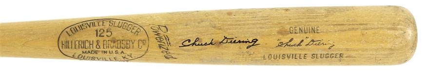 1950-56 Chuck Diering Cardinals/Giants/Orioles Signed H&B Louisville Slugger Professional Model Game Used Bat (MEARS LOA/JSA)