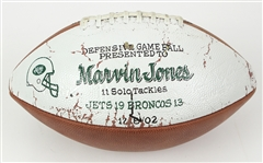 2002 Marvin Jones New York Jets Defensive Game Ball (MEARS LOA)