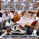 2012 (May 22nd) Lebron James Eastern Conference Semi Finals Miami Heat Game Worn Shoes Akron Childrens Hospital / MEARS LOA