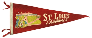 "1930s Vintage St. Louis Cardinals Red 25"" Pennant"