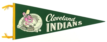 "1950s Vintage Cleveland Indians Green 29"" Pennant"