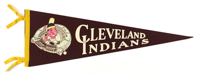 "1950s Vintage Cleveland Indians Maroon 26"" Pennant"