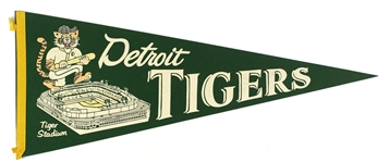 "1950s Vintage Detroit Tigers Green 29"" Pennant"