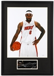"LeBron James Miami Heat 22"" x 30"" Framed Signed Cut and Photo (JSA)"