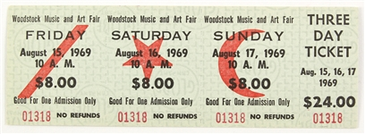 1969 Woodstock Music and Art Fair Ticket