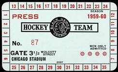 1959-1960 Chicago Black Hawks Press Pass