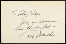 "1958-1972 Ray Nitschke Green Bay Packers Signed 4"" x 6"" Index Card (JSA)"
