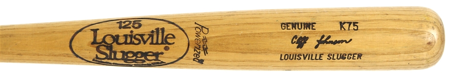 1980-83 Cliff Johnson Indians/Cubs/As/Jays Louisville Slugger Professional Model Game Used Bat (MEARS LOA)