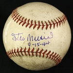 1944 (September 15) Stan Musial St. Louis Cardinals Signed ONL Frick Sportsmans Park Game Used Baseball (MEARS LOA/JSA)