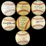 1970s-80s Signed Baseball Collection - Lot of 7 w/ Al Monchak, Barney Mussill, Dick Teed & More (JSA)