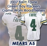 2007 Brett Favre Green Bay Packers Road Game Jersey w/ Teammate LOA (MEARS LOA)