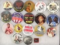 1980s-90s Boxing Pinback Button Collection - Lot of 18 w/ Sugar Ray Leonard, Thomas Hearns, Marvin Hagler, Donny LaLonde & More